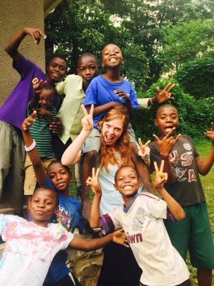Abby Loving on Neighborhood Kids